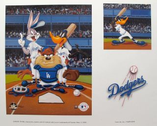 LOONEY TUNES L.A. DODGERS BASEBALL Art Lithograph Bugs Bunny Daffy
