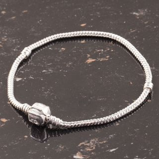 10/20X 18KGP/Silver Plated Snake Chain Charm Bracelet Fit European