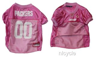GREEN BAY PACKERS PINK MESH Pet Dog JERSEY with NFL PATCH XS S M L