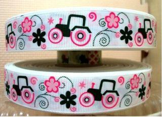 Yd John Deere tractor farm girl pink Grosgrain Ribbon Size 7/8