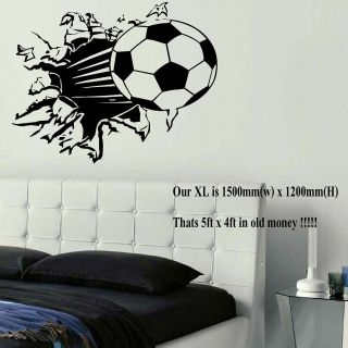 EXTRA LARGE FOOTBALL BALL WALL ART BEDROOM MURAL STICKER TRANSFER