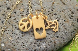 Peace Love and Joy gold charm cluster necklace  peace sign, heart, and