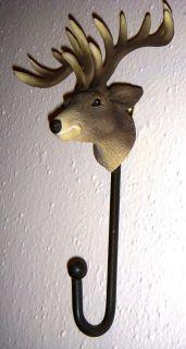 BEAUTY Buck DEER HEAD   ANTLERS Rack Hanger WALL HOOK Country Rustic
