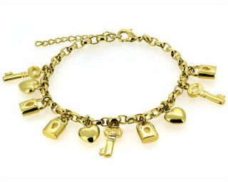 9k Yellow Gold Filled Womens Heart Charm Girls Jewellery Solid