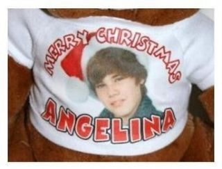 Justin Bieber CHRISTMAS Teddy Bear or Doll T Shirt Personalized with