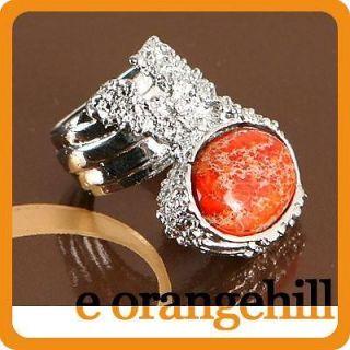 SZ 9 Orange Terrain Jasper Gemstone Chunky Armor Knuckle Cocktail Ring