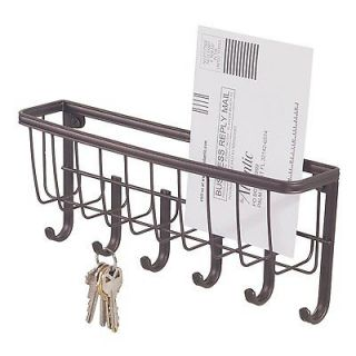 Wall Mount Mail & Key Rack Letter Holder Organizer w/ 6 Hooks Home
