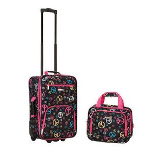 Expandable Peace Sign 2 piece Lightweight Carry on Luggage Set   Peace