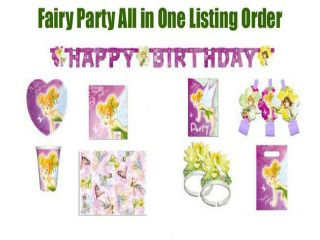 Fairy Tinkerbell Birthday Party Supply All In One Listing Princess