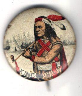 1940s pin KING PHILIP pinback PEACE PIPE Van Brode American Series