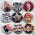 BILLY THE KID WILD WEST OUTLAW 9 PINS BUTTONS BADGES