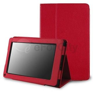 Kindle Fire 1 & 2 Premium Red Slim Flip Stand Leather Case Cover US