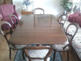 ETHAN ALLEN SOLID CHERRY BANQUET TABLE WITH 6 CHAIRS (BEAUTIFUL) W 2
