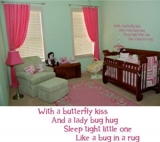 With A Butterfly Kiss Baby Room Wall Decal Nursery Deco