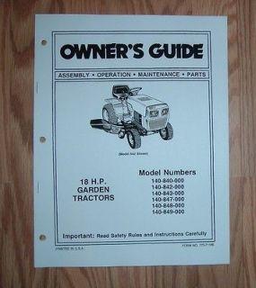 MTD 847 18 HP GARDEN TRACTOR OWNER OPERATOR MANUAL