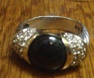 Black Onyx Pave Set Diamond 18K Yellow Gold & Silver 6 Capri Ring