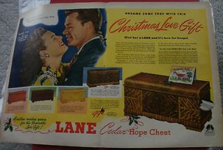 LANE Cedar Hope Chests 1946 Original Color Double Page Ad
