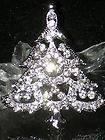 CLEAR WHITE CHRISTMAS TREE RHINESTONE CRYSTAL SILVER TONE BROOCH PIN