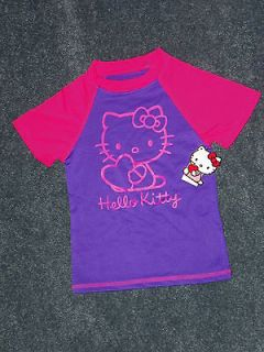 Hello Kitty Girls Purple & Pink Rashguard Swim Top Shirt Size 4/5 X