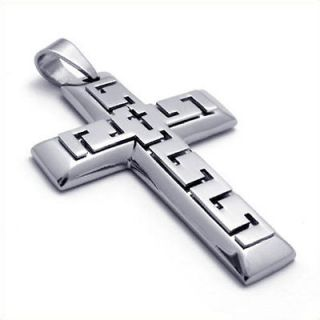 Large Heavy Silver Tone Stainless Steel Cross Pendant Mens Necklace