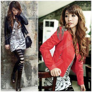 Korean short Coat section PU leather Motorcycle jacket Womens