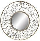 Large Round Mirror Wall Hanging With Contemporary Branch Open Grey