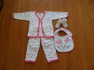 Newborn clothes bib kit / baby boy girl cute cotton pajamas for baby 0