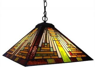 Style Handcrafted Stained Glass Mission Hanging Pendant Lamp 16 Shade