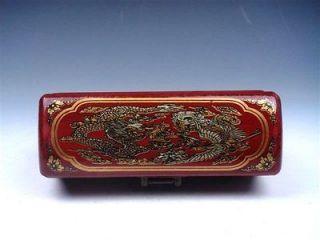 Chinese Red Finish Leather Dragon Wooden Jewelry Box