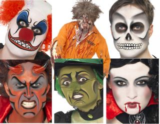 HALLOWEEN MAKE UP FACE PAINT KITS EVIL CLOWN ZOMBIE SKELETON WITCH