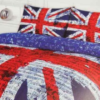 CHILDRENS GRAPHIC RED WHITE & BLUE UNION JACK SINGLE DUVET COVER SET