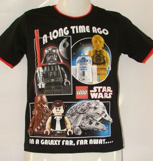 Lego Star Wars T Shirt Boys sz 7 8 10 12 Kids Cotton Black Galaxy BNWT