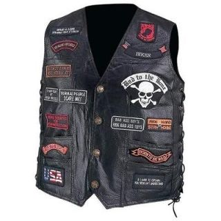 Leather Motorcycle Biker Vest w/23 Patches, USA NEW
