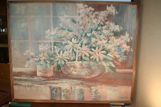 LISTED ARTIST LEE REYNOLDS PAINTING SOFA SIZE PAINTING 1960s