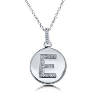 CUBIC ZIRCONIA STERLING SILVER INITIAL LETTER E PENDANT NECKLACE