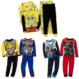 Boy 4PC Spongebob Transformers Lego Star Wars Pajama Shirt Pants Set 4