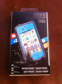 Waterproof Shockproof case iPhone 4S 4 LT BLUE / Teal + HP adapter