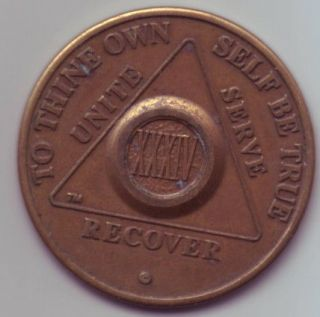 XXXIV 34 years   Alcoholics Anonymous AA medal token chip coin