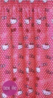 Hello Kitty Candy Spot Bows Pink White Polka Dot Curtains 66 x 54 100%