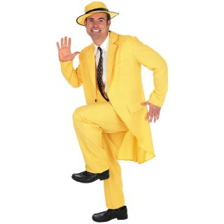 NEW ADULT MENS YELLOW GANGSTER ZOOT SUIT THE MASK JIM CARREY FANCY