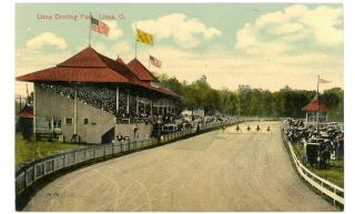 Lima OH   LIMA DRIVING PARK & HARNESS HORSE RACE   Postcard Sulky
