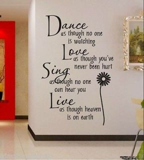 Dance&Love&Sing&Live stickers wall Decal Removable Art Vinyl Windows