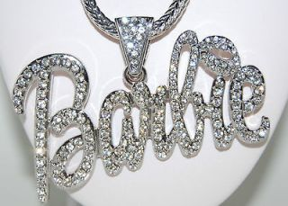 Huge SILVER CRYSTAL BARBIE BLING NECKLACE Chain
