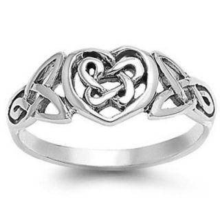 Silver size 4 ring Eternity Heart Celtic Knot Infinity Love Irish s06