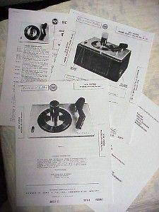 RCA Victor 45 RPM Record Player Repair Literature