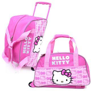 Hello Kitty Duffle Bag with Wheels Trolley Luggage Gym Travel Bag