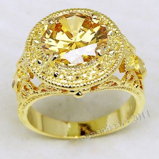 Size 9/10/11 Jewelry Antique 12ct Gold Topaz Mens 18K Yellow Gold