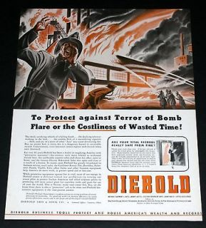 1942 OLD WWII MAGAZINE PRINT AD, DIEBOLD SAFE & LOCK, FIREFIGHTERS