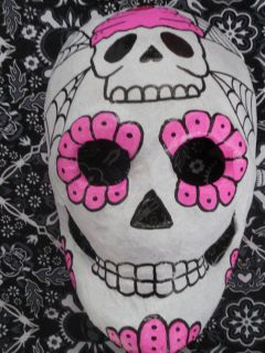 Dia de los Muertos Paper Mache Skull Cupcake Mask OOAK