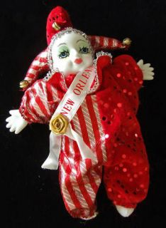 Porcelain Baby Clown Doll Mardi Gras Red New Orleans